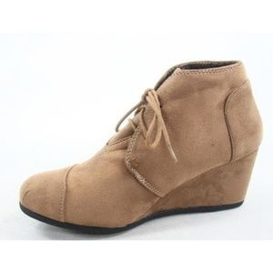 Shoes - Taupe Lace Up Wedge Bootie